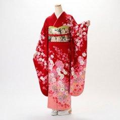 振袖 フルセット 花柄 Mサイズ 赤・ワイン系 (中古 リユース 美品) 16438