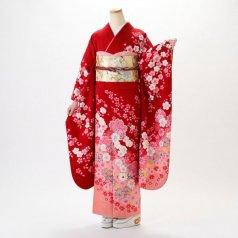 振袖 フルセット 花柄 Lサイズ 赤・ワイン系 (中古 リユース 美品) 16438