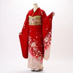 振袖 フルセット 花柄 Lサイズ 赤・ワイン系 (中古 リユース 美品) 16128