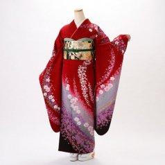 振袖 フルセット 花柄 Mサイズ 赤・ワイン系 (中古 リユース 美品) 16130
