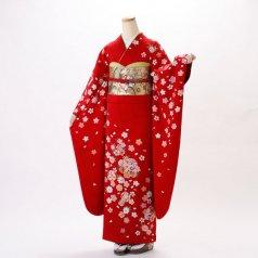 振袖 フルセット 花柄 Lサイズ 赤・ワイン系 (中古 リユース 美品) 16203