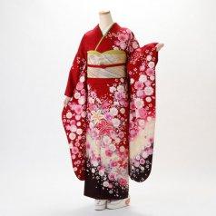 振袖 フルセット 花柄 Lサイズ 赤・ワイン系 (中古 リユース 美品) 16655