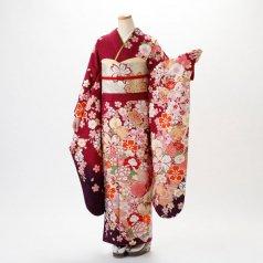 振袖 フルセット 花柄 Mサイズ 赤・ワイン系 (中古 リユース 美品) 16889