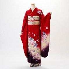 振袖 フルセット 花柄 Lサイズ 赤・ワイン系 (中古 リユース 美品) 16287