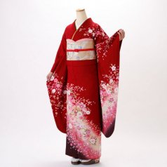 振袖 フルセット 花柄 Mサイズ 赤・ワイン系 (中古 リユース 美品) 16171