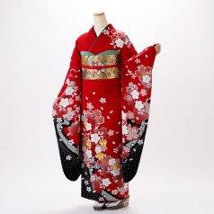 振袖 フルセット 古典柄 Lサイズ 赤・ワイン系 (中古 リユース 美品) 10182