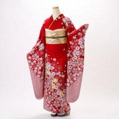 振袖 フルセット 絞り柄 Lサイズ 赤・ワイン系 (中古 リユース 美品) 13036
