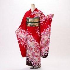 振袖 フルセット 花柄 Mサイズ 赤・ワイン系 (中古 リユース 美品) 16331