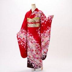 振袖 フルセット 花柄 Lサイズ 赤・ワイン系 (中古 リユース 美品) 16331