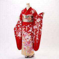 振袖 フルセット 花柄 Lサイズ 赤・ワイン系 (中古 リユース 美品) 16332