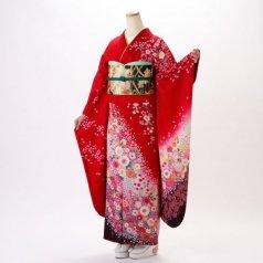 振袖 フルセット 花柄 Lサイズ 赤・ワイン系 (中古 リユース 美品) 16566