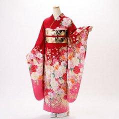 振袖 フルセット 花柄 Lサイズ 赤・ワイン系 (中古 リユース 美品) 16669