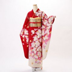 振袖 フルセット 花柄 Mサイズ 赤・ワイン系 (中古 リユース 美品) 16494