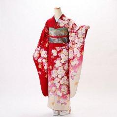 振袖 フルセット 花柄 Lサイズ 赤・ワイン系 (中古 リユース 美品) 16494