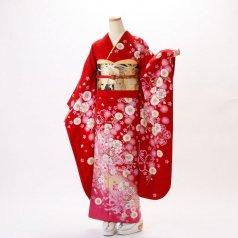 振袖 フルセット 花柄 Mサイズ 赤・ワイン系 (中古 リユース 美品) 16284