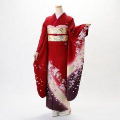 振袖 フルセット 花柄 Lサイズ 赤・ワイン系 (中古 リユース 美品) 16028