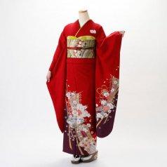 振袖 フルセット 古典柄 Mサイズ 赤・ワイン系 (中古 リユース 美品) 10096
