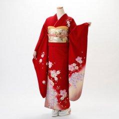 振袖 フルセット 花柄 Lサイズ 赤・ワイン系 (中古 リユース 美品) 16024