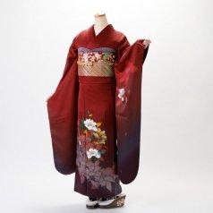 振袖 フルセット モダン柄 Lサイズ 赤・ワイン系 (中古 リユース 美品) 15999