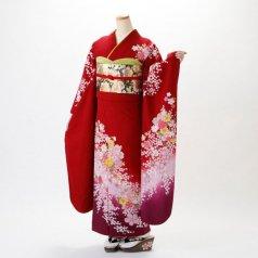 振袖 フルセット 花柄 Lサイズ 赤・ワイン系 (中古 リユース 美品) 16168