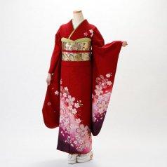振袖 フルセット 花柄 Mサイズ 赤・ワイン系 (中古 リユース 美品) 16174