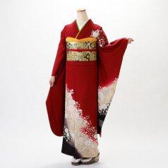 振袖 フルセット 花柄 Lサイズ 赤・ワイン系 (中古 リユース 美品) 16062