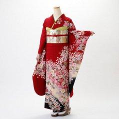 振袖 フルセット 花柄 Lサイズ 赤・ワイン系 (中古 リユース 美品) 16236