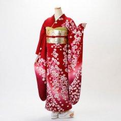 振袖 フルセット 花柄 Lサイズ 赤・ワイン系 (中古 リユース 美品) 16255
