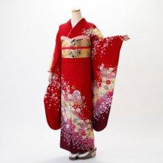 振袖 フルセット 花柄 Mサイズ 赤・ワイン系 (中古 リユース 美品) 16283