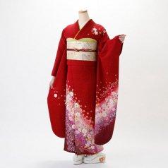 振袖 フルセット 花柄 Lサイズ 赤・ワイン系 (中古 リユース 美品) 16288