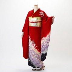 振袖 フルセット 花柄 Lサイズ 赤・ワイン系 (中古 リユース 美品) 16122