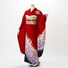 振袖 フルセット 花柄 Mサイズ 赤・ワイン系 (中古 リユース 美品) 16122