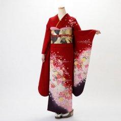 振袖 フルセット 花柄 Lサイズ 赤・ワイン系 (中古 リユース 美品) 16291