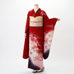 振袖 フルセット 花柄 Mサイズ 赤・ワイン系 (中古 リユース 美品) 16291
