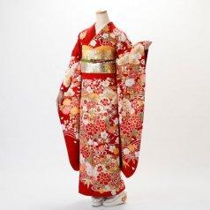 振袖 フルセット 古典柄 Lサイズ 赤・ワイン系 (中古 リユース 美品) 10999