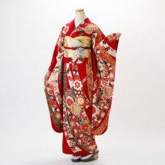 振袖 フルセット 古典柄 Mサイズ 赤・ワイン系 (中古 リユース 美品) 10999