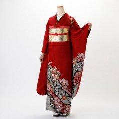 振袖 フルセット 絞り柄 Lサイズ 赤・ワイン系 (中古 リユース 美品) 13007