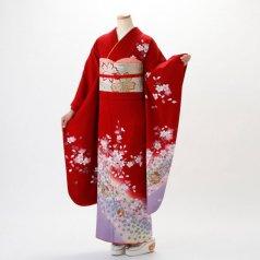 振袖 フルセット 花柄 Mサイズ 赤・ワイン系 (中古 リユース 美品) 14010