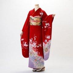 振袖 フルセット 花柄 Lサイズ 赤・ワイン系 (中古 リユース 美品) 14010