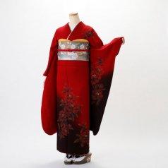 振袖 フルセット モダン柄 Mサイズ 赤・ワイン系 (中古 リユース 美品) 15036