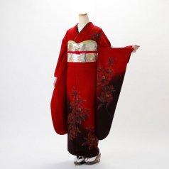 振袖 フルセット モダン柄 Lサイズ 赤・ワイン系 (中古 リユース 美品) 15036