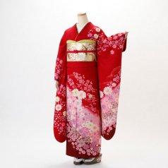 振袖 フルセット 花柄 Lサイズ 赤・ワイン系 (中古 リユース 美品) 16246
