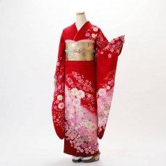 振袖 フルセット 花柄 Mサイズ 赤・ワイン系 (中古 リユース 美品) 16246