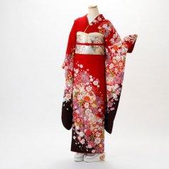 振袖 フルセット 花柄 Mサイズ 赤・ワイン系 (中古 リユース 美品) 16420