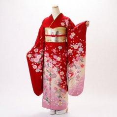 振袖 フルセット 花柄 Mサイズ 赤・ワイン系 (中古 リユース 美品) 16181