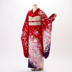 振袖 フルセット 花柄 Mサイズ 赤・ワイン系 (中古 リユース 美品) 16320