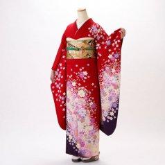 振袖 フルセット 花柄 Lサイズ 赤・ワイン系 (中古 リユース 美品) 16320