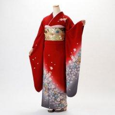 振袖 フルセット 花柄 Lサイズ 赤・ワイン系 (中古 リユース 美品) 16999