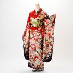 振袖 フルセット 花柄 LLサイズ 赤・ワイン系 (中古 リユース 美品) 16999