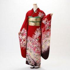 振袖 フルセット 花柄 Lサイズ 赤・ワイン系 (中古 リユース 美品) 16196